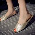 2016 Nuevo Verano Femenino Zapatillas de Marca de Cuero Baotou Ocio 5 Colores 5 Yardas de Las Mujeres