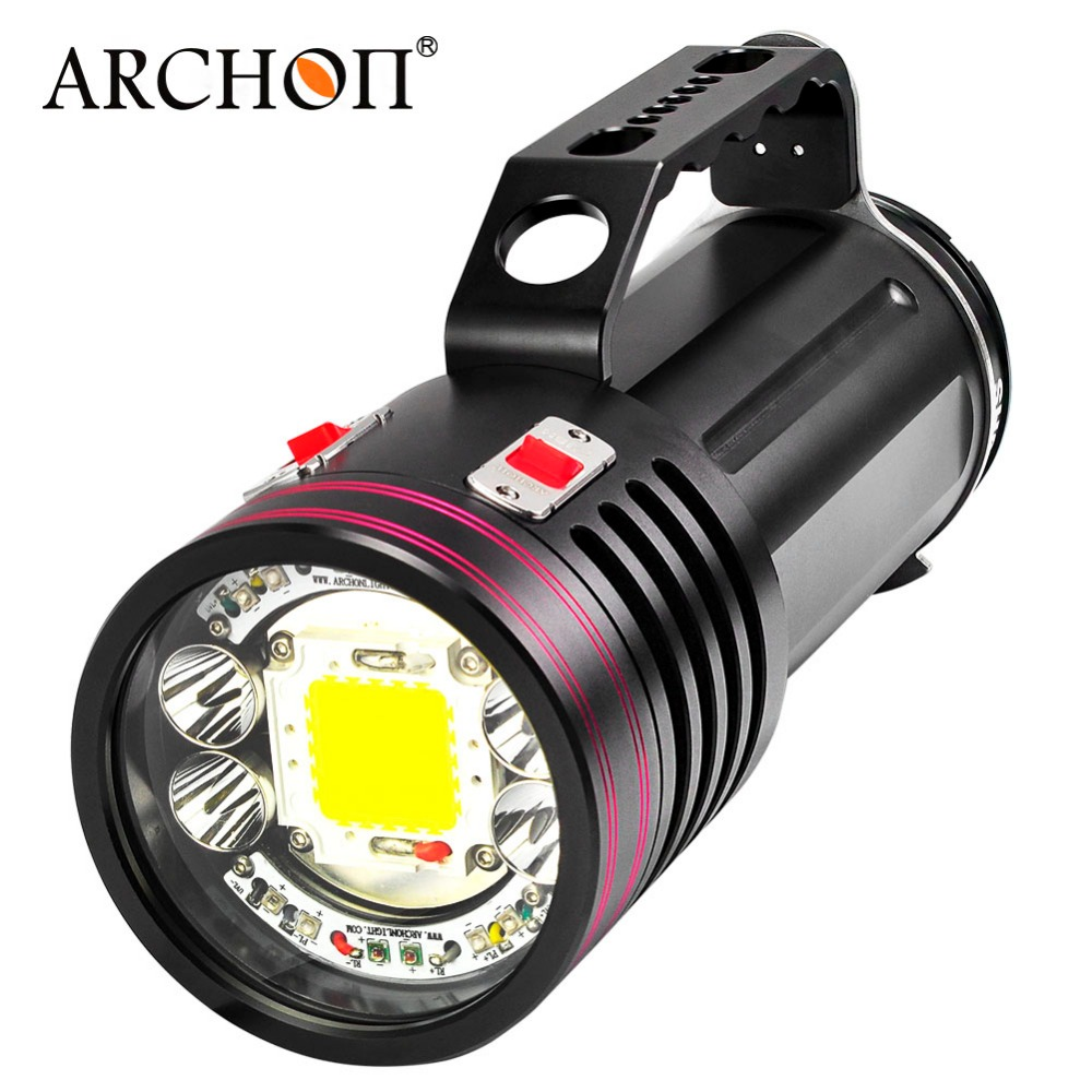 Diving-Flashlight Rechargeable ARCHON Battery-Pack Underwater-Photography-Torch 10000LM