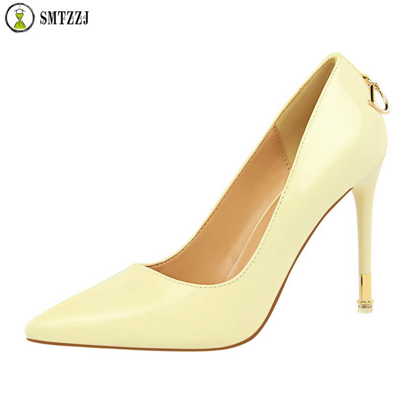 Luxury Patent Leather Women 10 cm High Heels Pump shoes Red White Office Work Lady Wear Scarpins Heels Pumps Cut Outs Shallow in Women 39 s Pumps from Shoes
