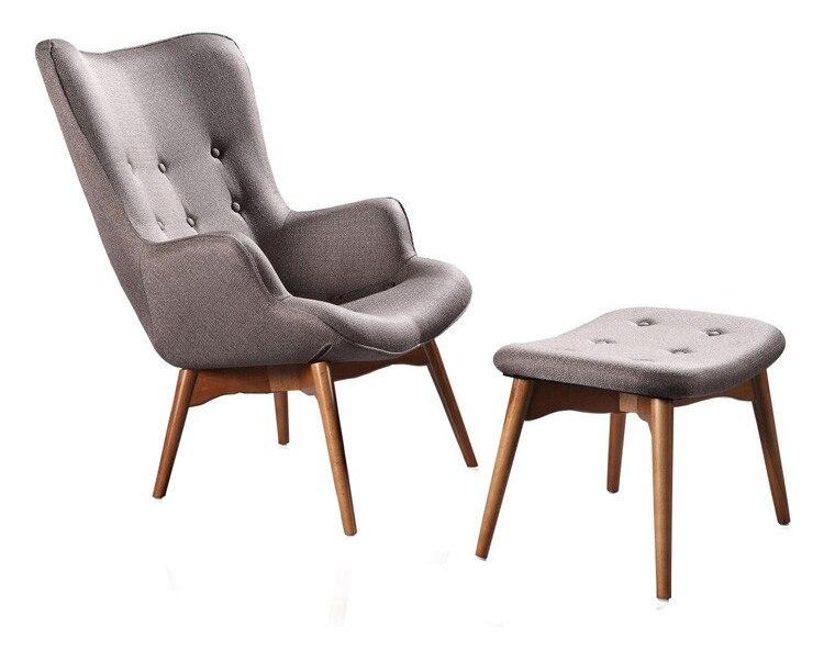Mediados de siglo moderno sillón silla W/escabel otomana Muebles de ...
