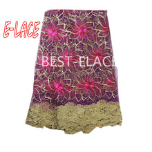 Hot sale red  nigerian african lace fabrics french guipure tulle lace fabric for wedding party dress 5yds1681113h18-T