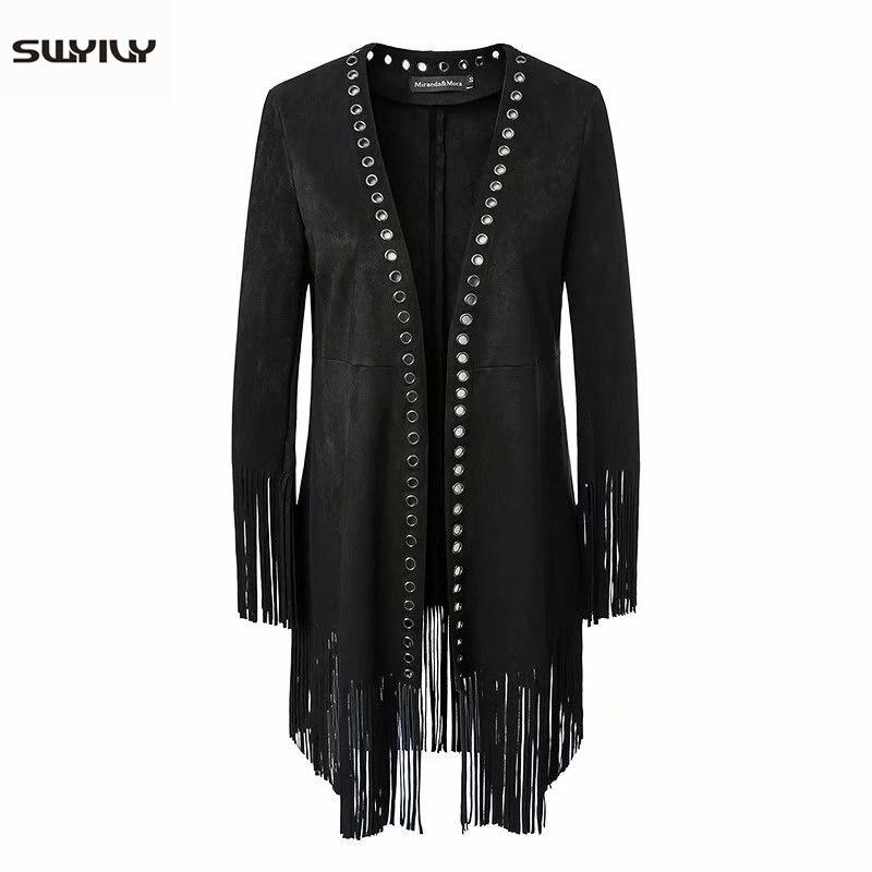 SWYIVY Women Faux   Leather   Coats Tassel 2019 Spring New Female Elegant Long Coat Silm Rivet Retro Woman   Leather   Cloth Open Stitch