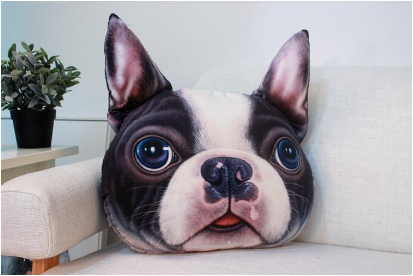 Dongzhen Car Pillow Car Cushion Lumbar Pad Seat Back Lovely Dog Animal Huskies Bulldog Gift Present 3D Pillow Car Styling