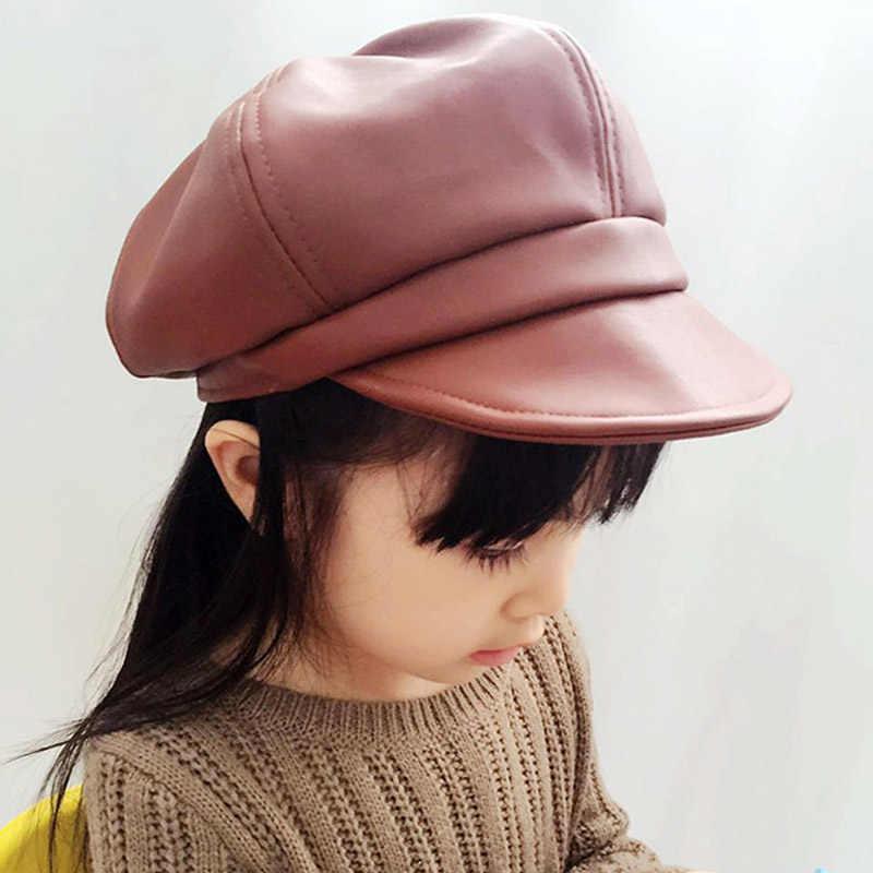 Doitbest/Детские береты от 2 до 7 лет, Осенний кожаный берет для мальчиков и девочек, шапки, корейская детская кожаная шапка, теплый однотонный головной убор в французском стиле для мальчиков и девочек