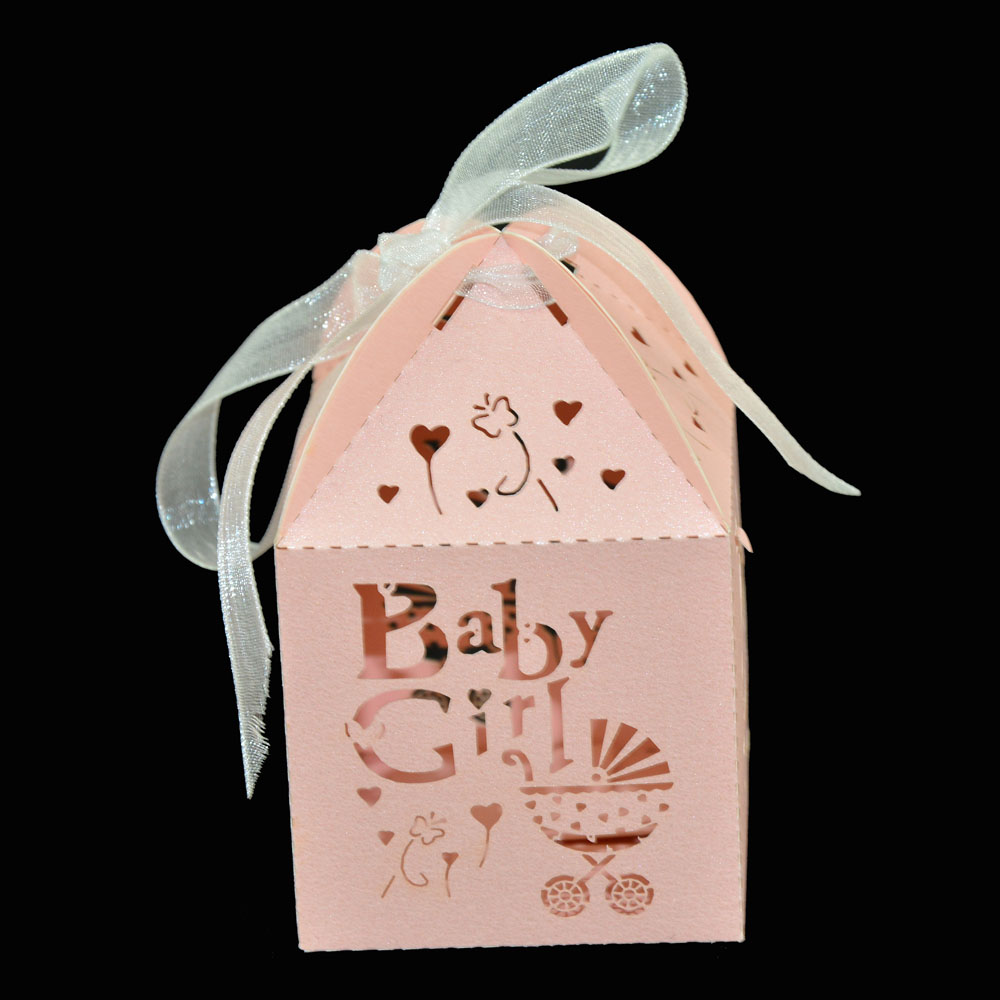 Wholesale 1000pcs Gift Candy Bag Pink Baby Girl Wedding Candy Box ...