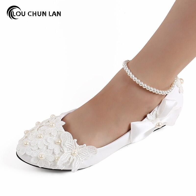 Adultes appartements plat blanc chaussures de demoiselle d'honneur mariage chaussures de mariage à la main chaussures à talons bas perle cheville Bow chaussures pour femmes