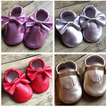 Hot 2016 Genuine Leather Baby Moccasins Metallic Red Shoe First Walkers Suede Soft Sole Tassle Bow Shoes For Girl Boys Prewalker