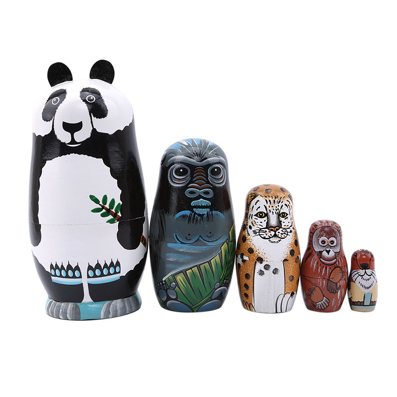 Dolls & Stuffed Toys 5 Pcs/set Hand Drawn Panda Russian Dolls Hand Painted Home Decor Birthday Gifts Baby Toy Nesting Dolls Wooden Matryoshka