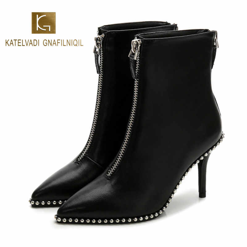 KATELVADI  2019 New Autumn And Winter High Heel Boots 8CM Black PU Metal Zipper Pointed Female Stiletto Boots K-473