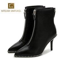 KATELVADI  2019 New Autumn And Winter High Heel Boots 8CM Black PU Metal Zipper Pointed Female Stiletto K-473