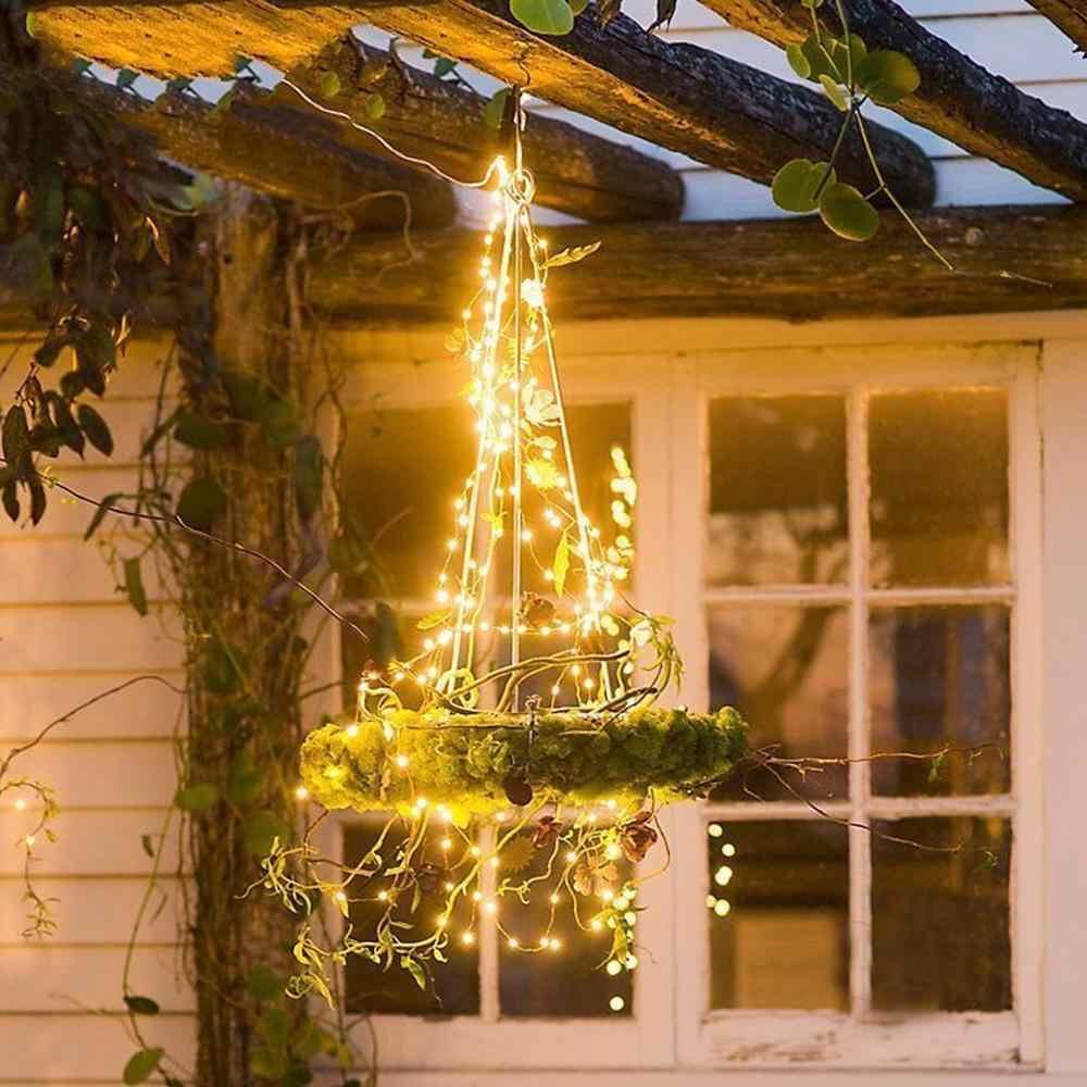 LED jardín luz solar cobre USB cadena luz exterior Patio césped lámpara Solar guirnalda decoración de hadas luz solar tira
