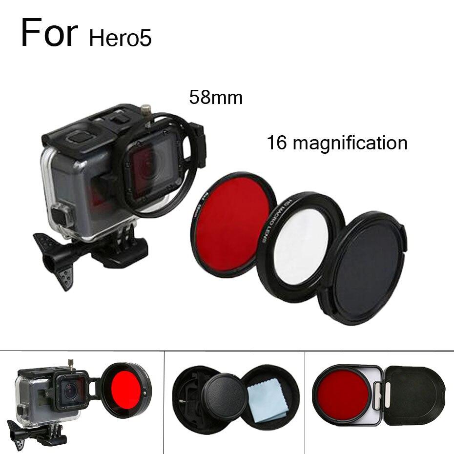58mm Loupe Grossissement 16x Macro Close Up Lens + UV Filtre pour GoPro Hero 6/5 Black Edition Cas GoPro accessoires
