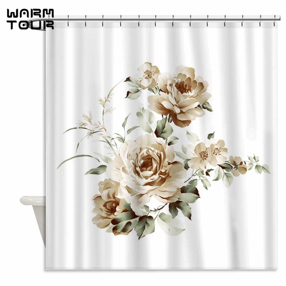 Warm Tour Simple Mauve Peony Rose Hydrangea Fabric Shower Curtains Waterproof Bathroom Curtain For Home Decoration WTC219 In From