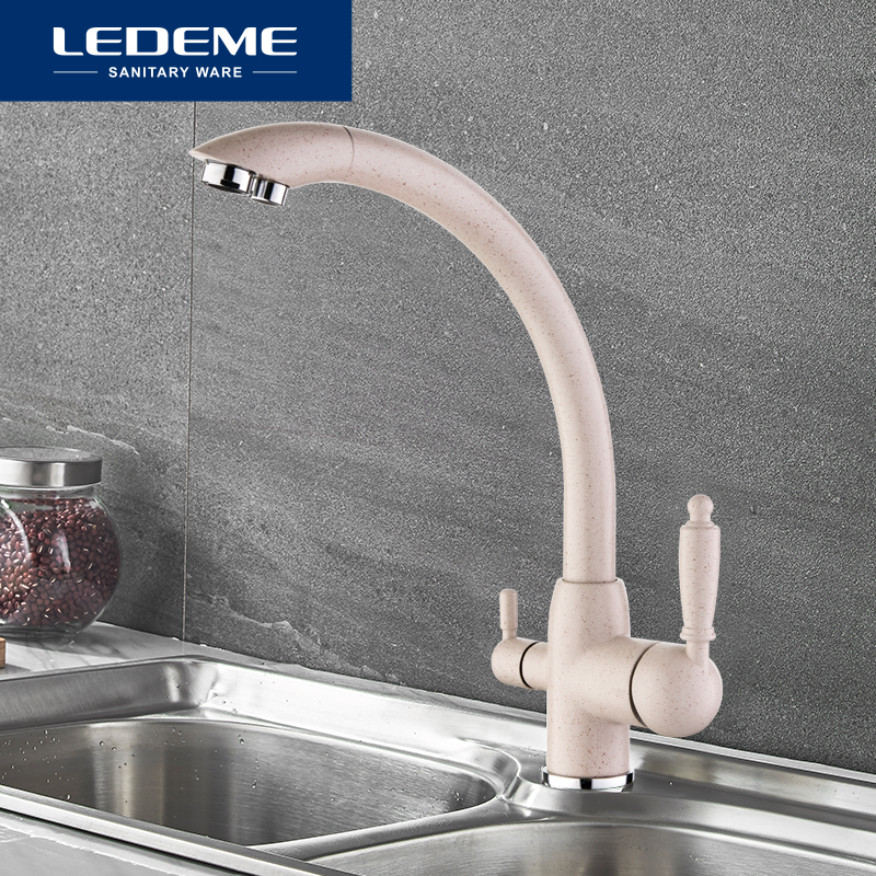 LEDEME Kitchen Faucets Swivel Drinking 360 Degree Rotation with Water Purification Features Double Handle Tri Flow
