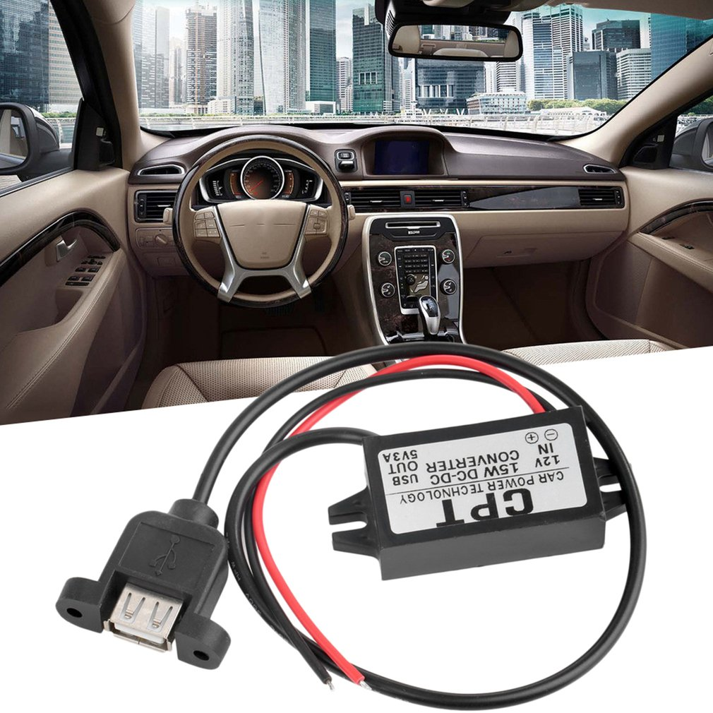 Durable Practical <font><b>Car</b></font> Charger <font><b>DC</b></font> <font><b>Converter</b></font> Module <font><b>12V</b></font> <font><b>To</b></font> <font><b>5V</b></font> <font><b>3A</b></font> 15W USB Output <font><b>Power</b></font> <font><b>Adapter</b></font> With USB Mounting Hole Hot image