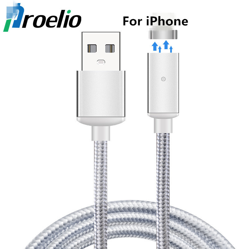 Magnetic Cable Fast Charging USB Cable for iPhone 5 5s SE 6 6s 7 iPad 2 3 4 iOS 1M Nylon Magnet Charger For Mobile Phone Cables