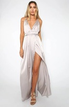 white blue black Sexy woman dress European Summer Suit-dress Colour Sleeveless Low Chest Crossing Bandage Back Drive Dress