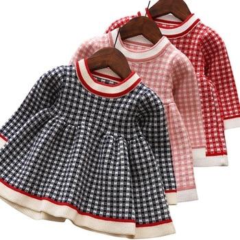 Baby Girls Clothes Toddler Christmas Costume Warm Lattice Knit Long-Sleeve Princess Dress