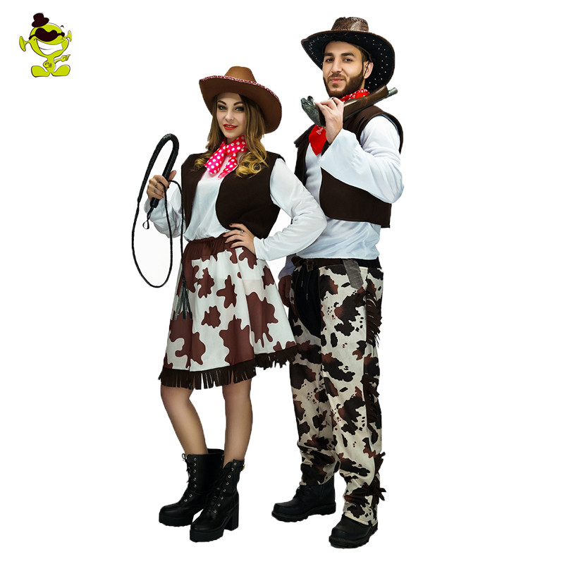 New Fashion Adult Western Cowboy Costume And   Cowgirl Costume  Cowgirl Cowboy Couple Costumes Lovers Cosplay Outfits