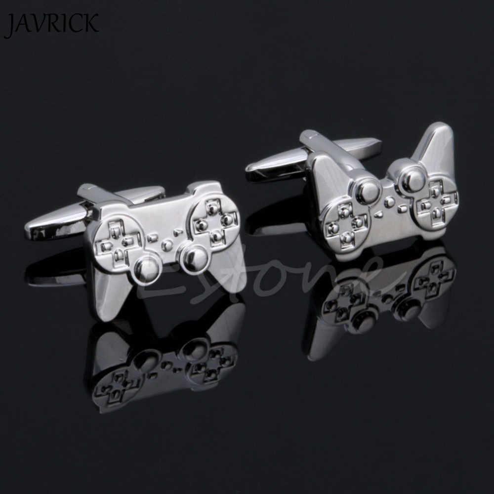 JAVRICK 1 пара мужские запонки из нержавеющей стали серебряные игровые консоли ручка запонки Свадебная вечеринка подарок рубашка платье Запонки