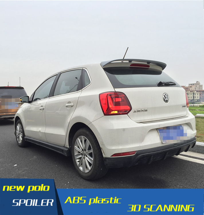 For VW Polo Spoiler ABS Material Car Rear Wing Primer ...