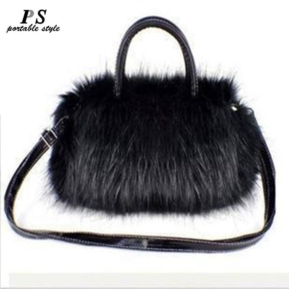 KAKINSU Winter Women Ladies Crossbody Tote Bags Hot Luxury Women Handbag Faux Rabbit Fur Designer Female Small Messenger Bags
