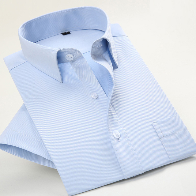 2017 Новый Дизайн Белый С Коротким Рукавом Летний Формальных Мужские Рубашки Высокого Качества Бизнес Платье Рубашки Мужчин Плюс Размер
