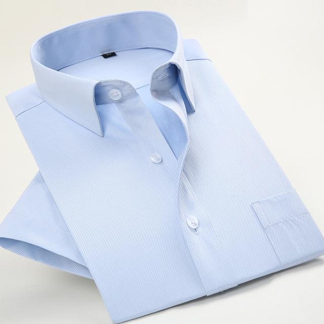2017 Nuevo Diseño Blanco de Verano de Manga Corta Camisas de Los Hombres de Negocios de Alta Calidad Formal Camisas de Vestir de Los Hombres Más Tamaño
