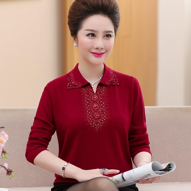2018 Chandail bourgogne Ans Rouge rouge Jersey New Lâche Automne Maman corail 50 Vêtements 40 Manteau Occidental Longues Pour Style Pourpre Manches Femmes xzw1IaHq
