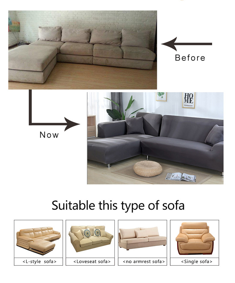 L shaped Solid Sofa Cover with Elastic for Sectional and Corner Sofa with Deep Gap Suitable in Living Room and Office 8