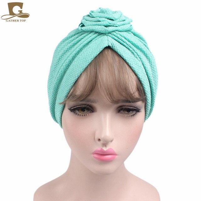 Nuove Donne di modo Elegante fiore della rosa turbante beanie Signore cap  capelli cap chemio 82f2c44bf455