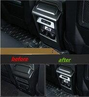 carbon fiber ABS Inner Center Armrest Box Rear Panel Cover For Land Rover Discovery Sport 2015 2017