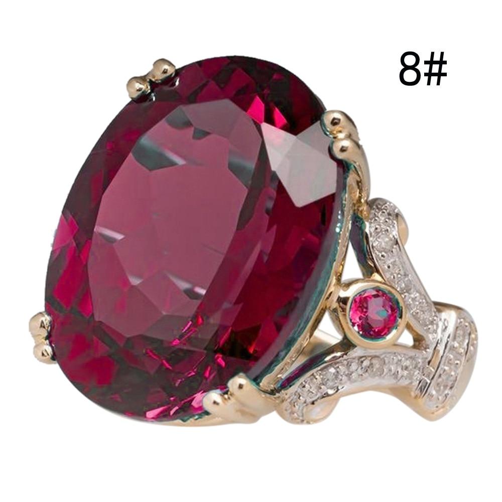 FREE Jewelry Fashion round wine red gems ladies ring 7