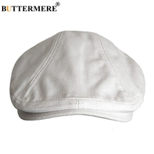 BUTTERMERE Linen Berets Men White Casual Flat Caps Women British Cabbie Directors Cap Vintage Autumn Solid Duckbill Ivy Hats