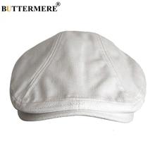 BUTTERMERE lniane berety mężczyźni biały Casual kaszkiety kobiety brytyjski Cabbie dyrektorzy Cap Vintage jesień stałe kaczy dziób bluszcz kapelusze
