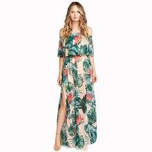 Тропический Принт Макси гофрированные платья бандо женские летние сексуальные с высоким разрезом прозрачные без бретелек пляжное длинное платье для отдыха