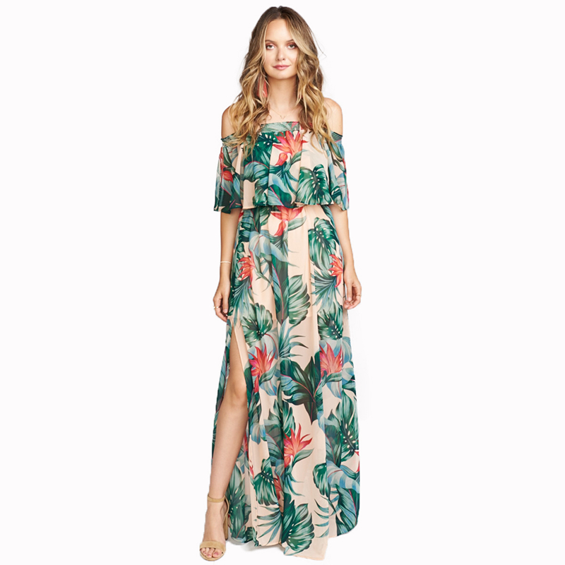 Tropical Printed Maxi Ruffled Bandeau Dresses Women Ladies Summer Sexy High Slit See Through Strapless Holiday Beach Long Dress