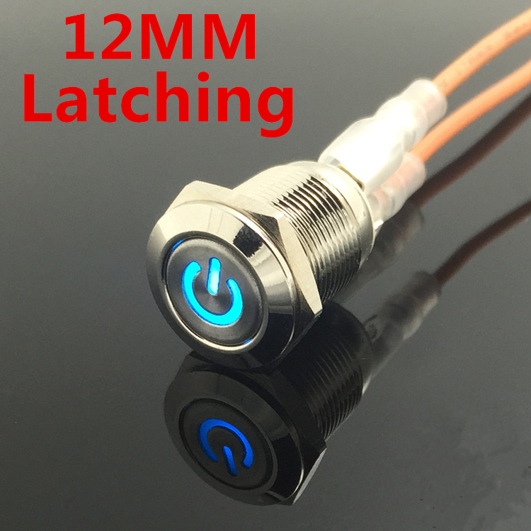 1pc Car Computer 12mm Latching Angel Eye Aluminum Metal LED Power NO Push Button Switch Self-locking Metal Switch Normally Open new 12v metal angel eye led car illuminated 16mm push button switch in stock free shipping