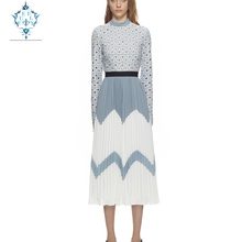 CUERLY 2019 Fashion Designer Runway Midi Dress Summer Women Stand collar Long sleeve Hollow Out Patchwork Pleated Casual Dresses