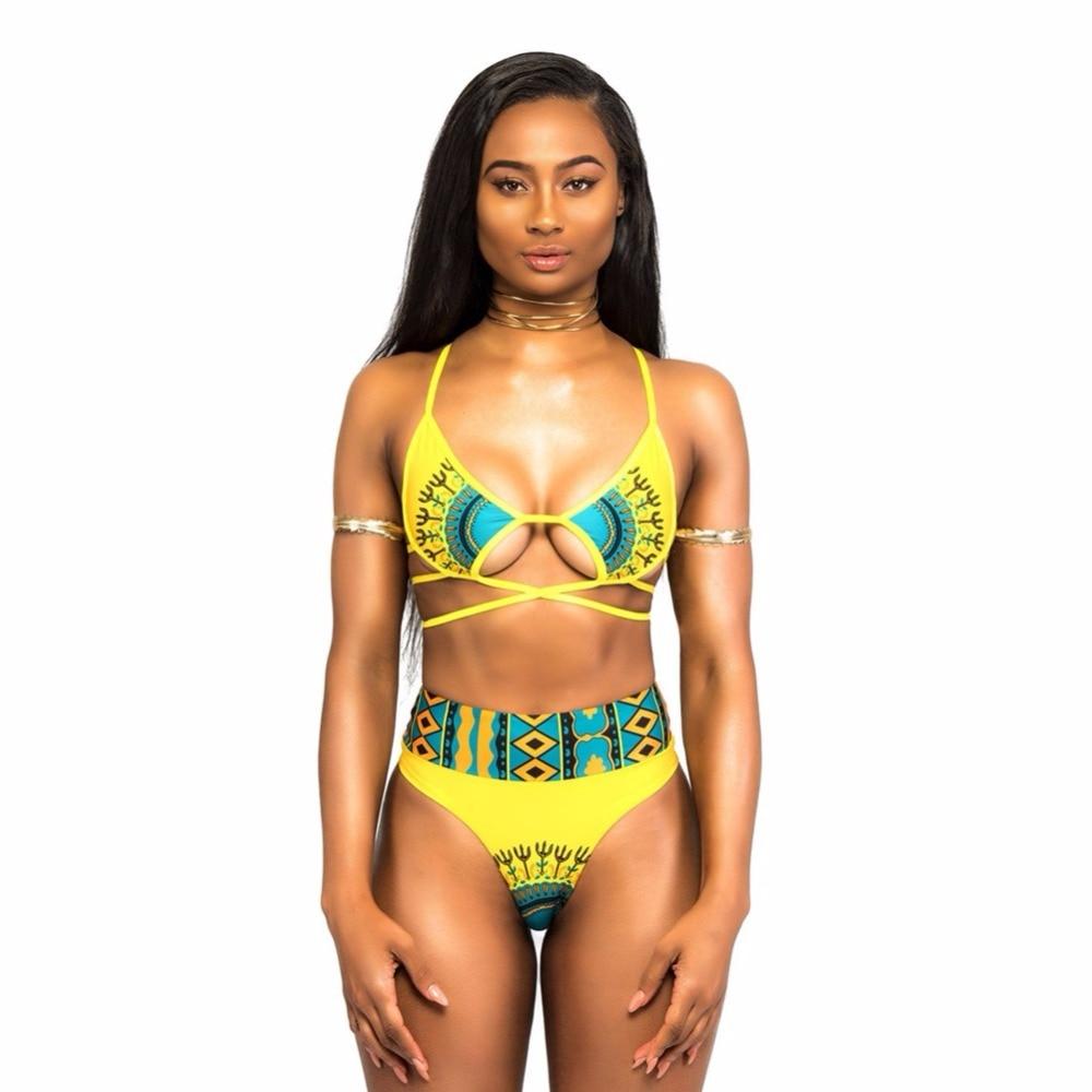 2018 Taille Haute Africain Sling Chaîne Bikini Ensemble Maillots De Bain Femmes Maillot de Bain Maillot de bain Baigneur Grande taille Fille Brésil Tanga