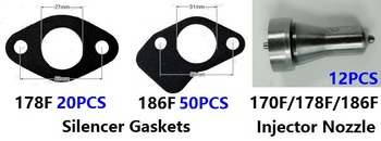 Free shipping diesel engine 170F 178F 186F injection nozzle Silencer Gaskets suit  kipor kama and Chinese brand