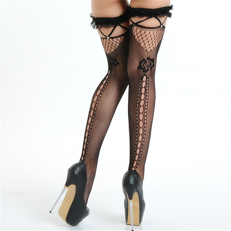 Sexy Lingerie Hot Women's Sexy Fishnet Stockings Sheer Lace Top Thigh High Stockings Stay Up Sexy Hosiery Black Female Stockings