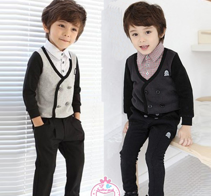 KNB Imported Hot Sale Gentleman Plaid Clothes Set Baby