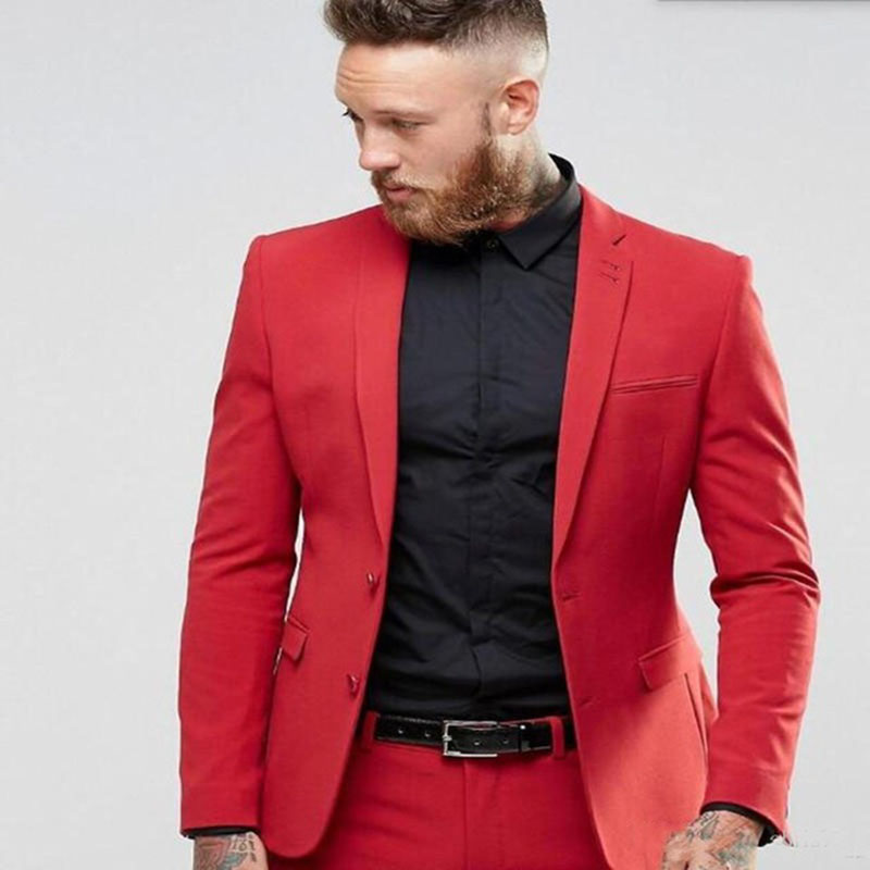 Custom Made Red Mens Suits Two Buttons Groom Tuxedos Groomsmen Wedding men Party Dinner Best Man Suit Blazer (Jacket+Pants+Tie)-in Suits from Men's Clothing    1