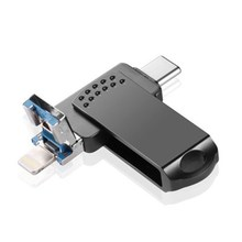 Buy USB Memory Stick Flash Drive 128GB USB Type C External Storage USB Drive 3in1for for iPhone iPad Computers iOS MacBook PC(Black) directly from merchant!