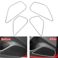 4PCS Set Car Door Stereo Speaker Frame Ring Trim Chromium Styling Sticker For Audi A3 8V 2014 2018 Stainless Steel