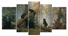 Wall art forest bear painting picture print canvas family modern decoration picture 5 piece set