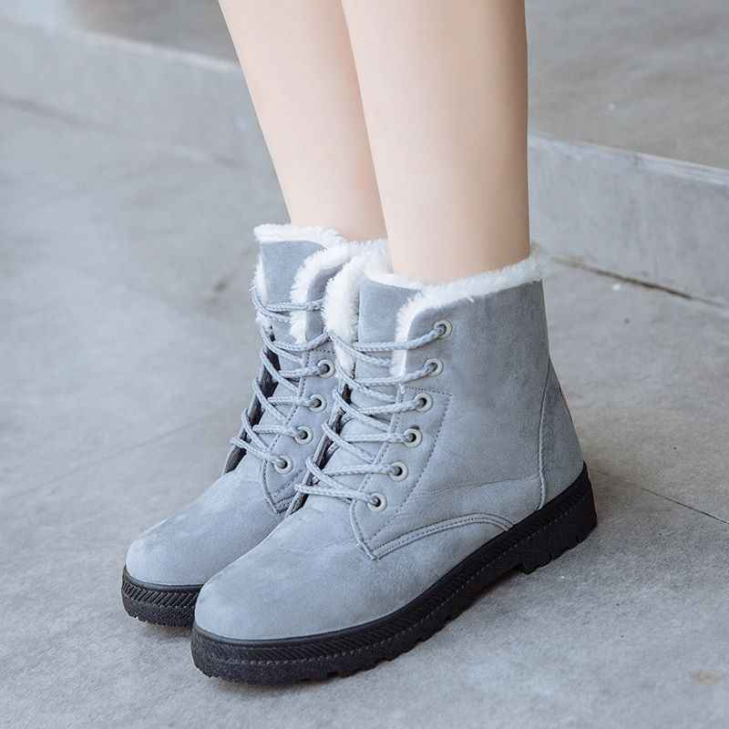 MEMUNIA 2019 Yeni klasik kar botları kadın düz renk dantel up platformu kış çizmeler kalın kürk bayanlar yarım çizmeler kadın ayakkabısı