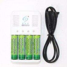 Etinesan 4 шт. nizn 1.6 В 2500mwh AA Перезаряжаемые Батарея + Зарядное устройство микрофон, беспроводная клавиатура, мышь, часы игрушка фонарик