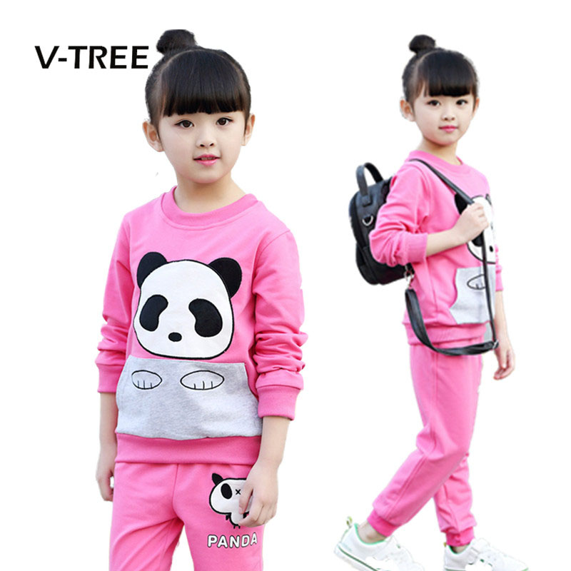 V-TREE Autumn Baby Girls Clothing Sets Fashion Sports Suit Sets For Girl Cartoon Sweatshirt + Pant Sets Kids Childrens Clothes dhl equick ems shipping 6 sets girls clothing sets lots fashion kids clothing sets 2017 top jean pant 2pcs girls clothes sets